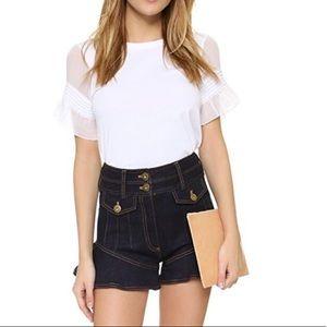 Self-Portrait ruffled jean shorts size 2